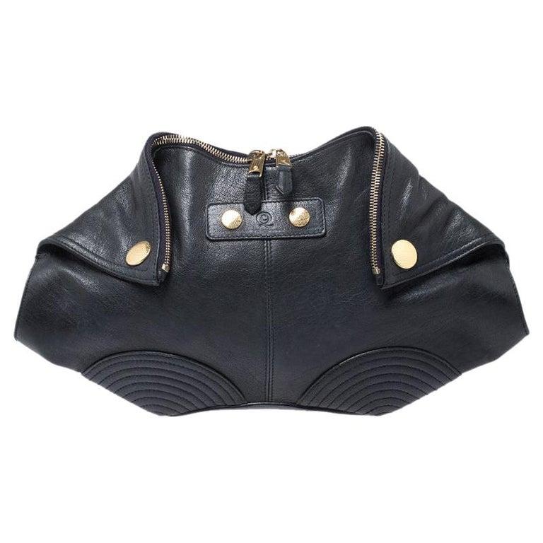Alexander McQueen Black Leather Medium De Manta Clutch For Sale