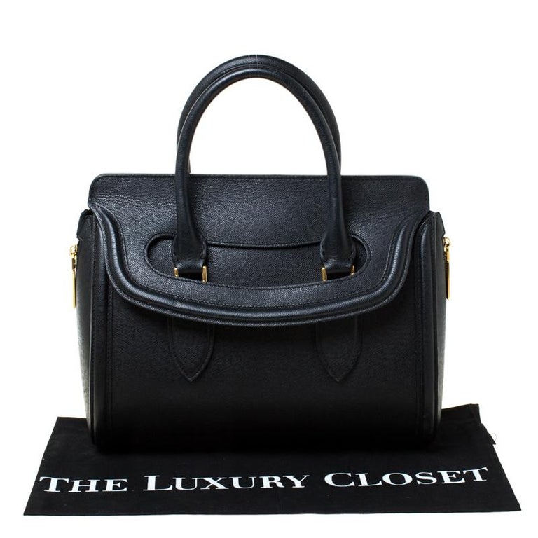 Alexander McQueen Black Leather Medium Heroine Tote For Sale 7