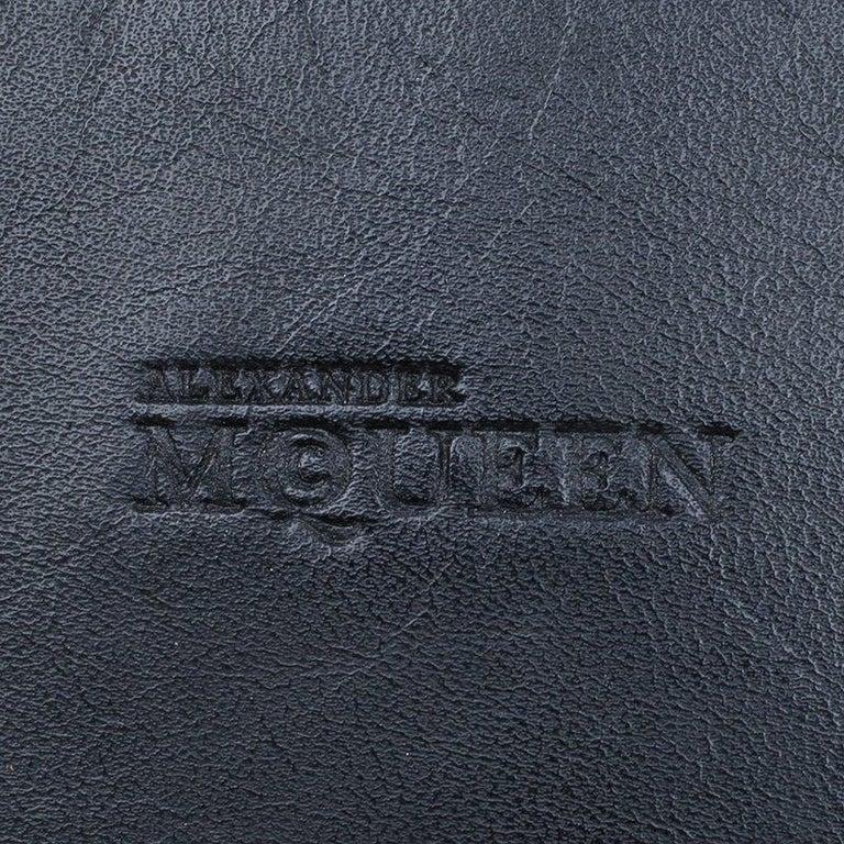 Women's Alexander McQueen Black Leather Medium Heroine Tote For Sale