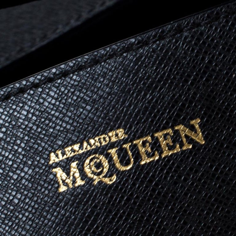 Alexander McQueen Black Leather Medium Heroine Tote For Sale 2