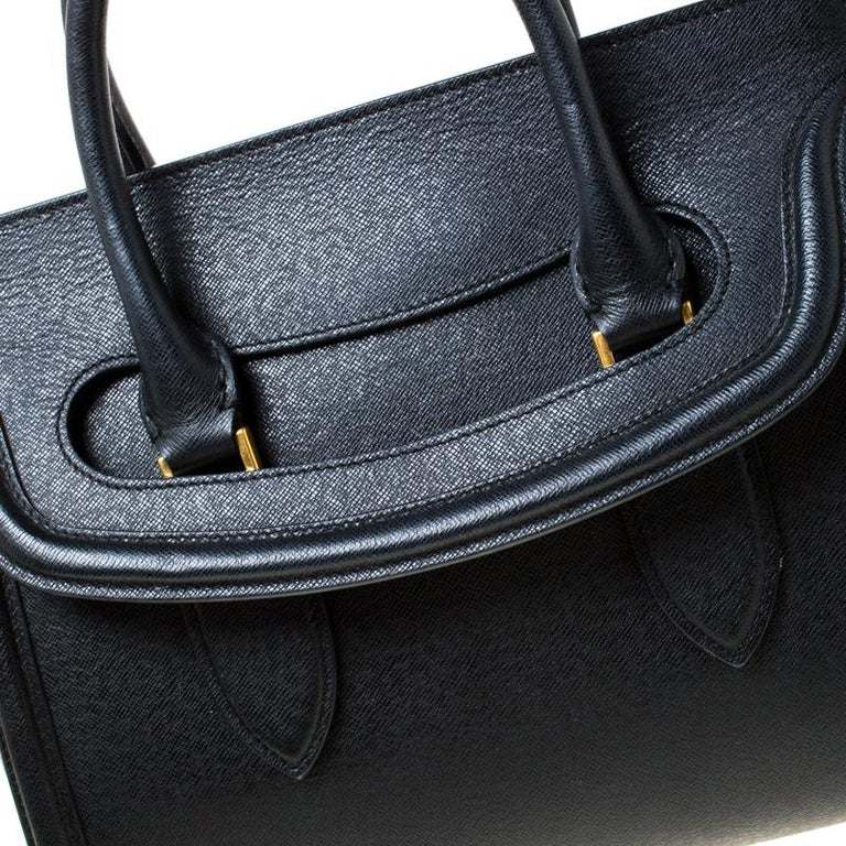 Alexander McQueen Black Leather Medium Heroine Tote For Sale 4