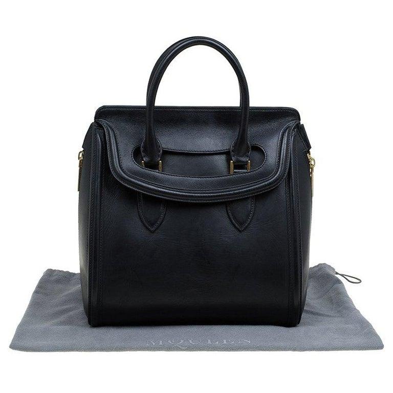 Alexander McQueen Black Leather Medium Heroine Tote For Sale 5
