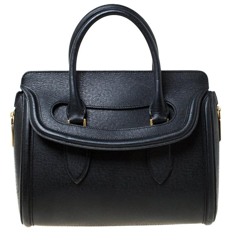 Alexander McQueen Black Leather Medium Heroine Tote For Sale