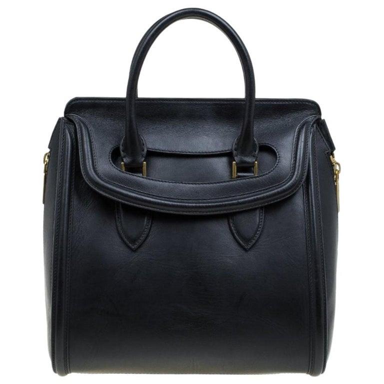 Alexander McQueen Black Leather Medium Heroine Tote For Sale