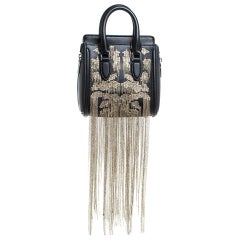 Alexander McQueen Black Leather Mini Fringed Heroine Bag