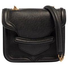 Alexander McQueen Black Leather Mini Heroine Chain Crossbody Bag