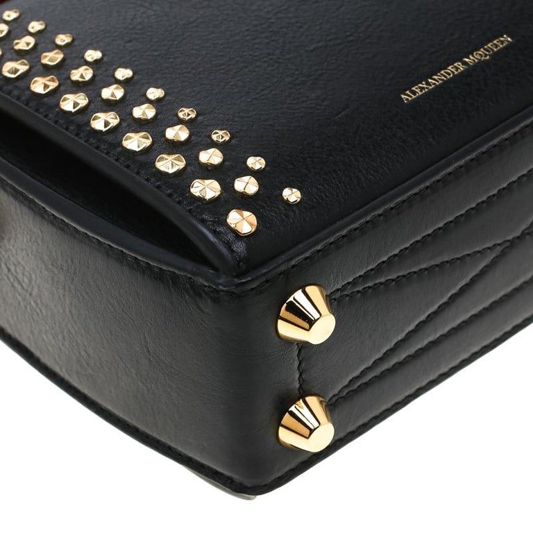 Alexander McQueen Black Leather Mini Studded Box Shoulder Bag For Sale 6