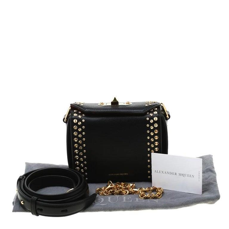 Alexander McQueen Black Leather Mini Studded Box Shoulder Bag For Sale 7