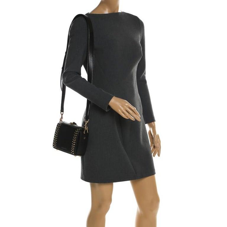 Alexander McQueen Black Leather Mini Studded Box Shoulder Bag In New Condition For Sale In Dubai, Al Qouz 2