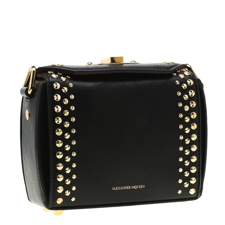 Women's Alexander McQueen Black Leather Mini Studded Box Shoulder Bag For Sale