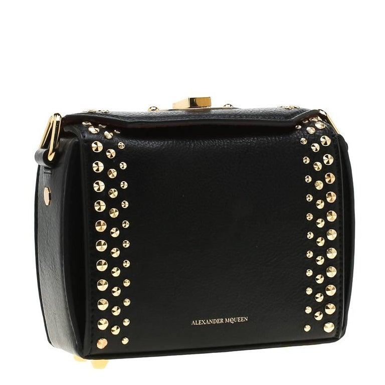 Women's Alexander McQueen Black Leather Mini Studded Box Shoulder Bag For Sale