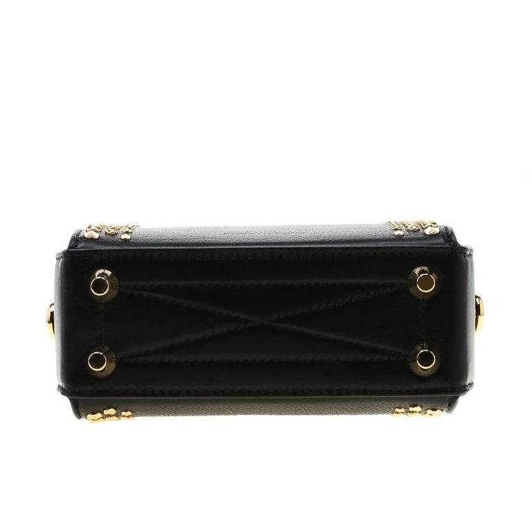 Alexander McQueen Black Leather Mini Studded Box Shoulder Bag For Sale 1