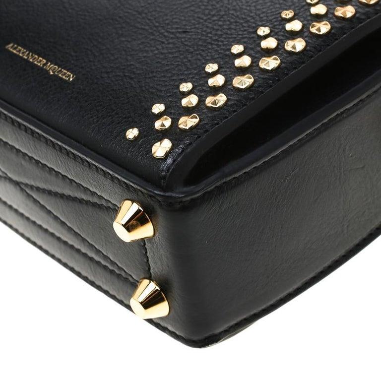 Alexander McQueen Black Leather Mini Studded Box Shoulder Bag For Sale 5