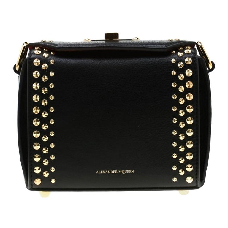 Alexander McQueen Black Leather Mini Studded Box Shoulder Bag