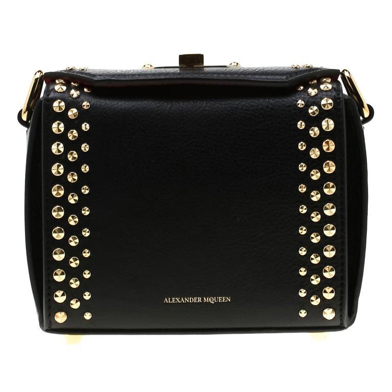 Alexander McQueen Black Leather Mini Studded Box Shoulder Bag For Sale
