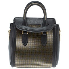 Alexander McQueen Black Leather Mini Studded Heroine Bag