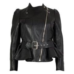 ALEXANDER MCQUEEN black LEATHER PEPLUM BIKER Jacket 40