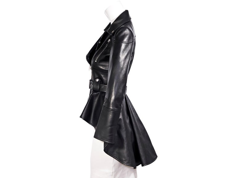 Alexander McQueen Black Leather Peplum Jacket In Good Condition For Sale In New York, NY