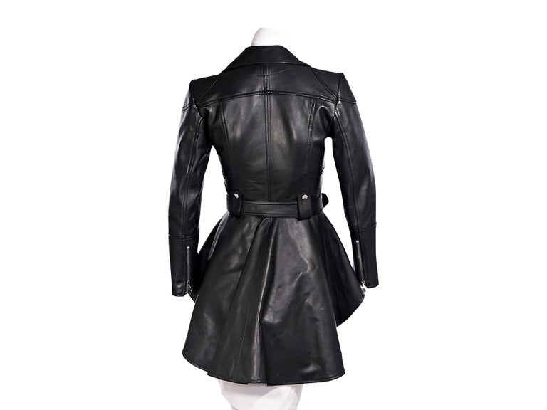 Women's Alexander McQueen Black Leather Peplum Jacket For Sale