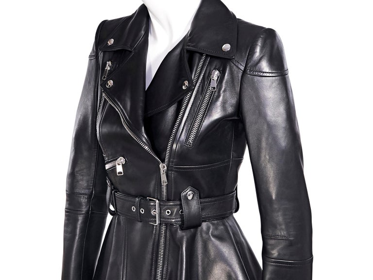 Alexander McQueen Black Leather Peplum Jacket For Sale 1