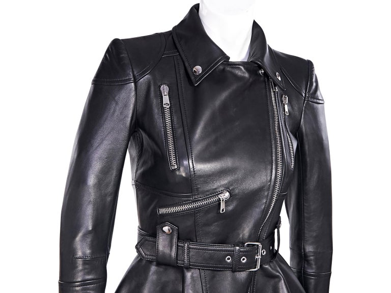 Alexander McQueen Black Leather Peplum Jacket For Sale 2