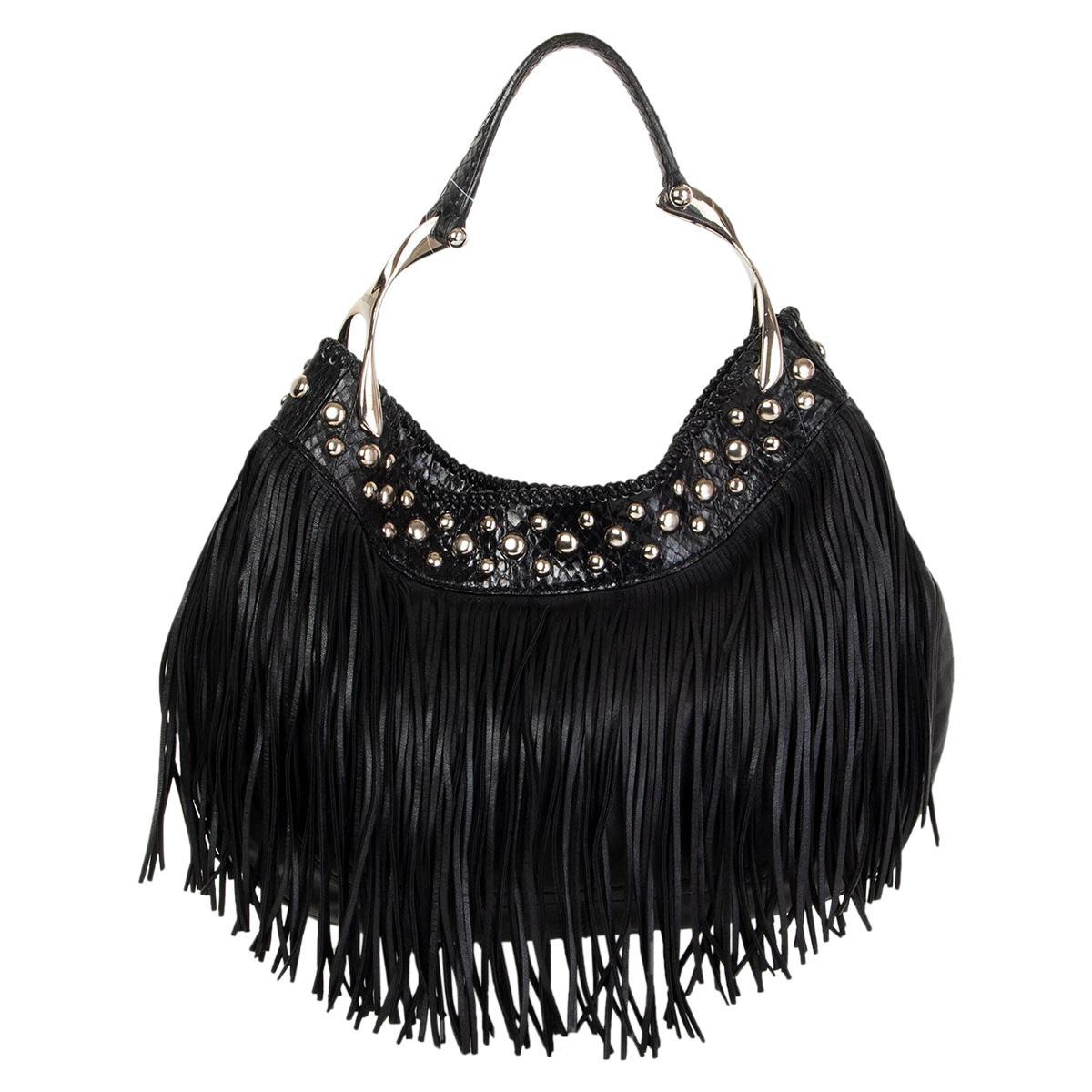 ALEXANDER MCQUEEN black leather & PYTHON WISHBONE FRINGE HOBO Shoulder Bag