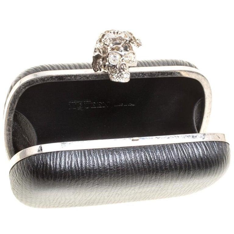 Alexander McQueen Black Leather Skull Box Clutch For Sale 6