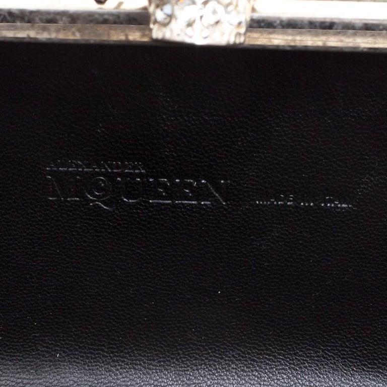 Alexander McQueen Black Leather Skull Box Clutch For Sale 3