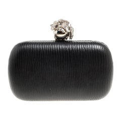 Alexander McQueen Black Leather Skull Box Clutch