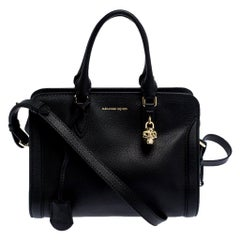 Alexander McQueen Black Leather Skull Padlock Tote