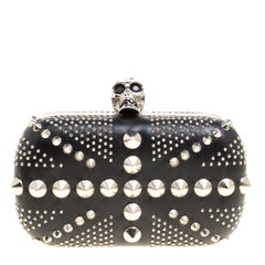 Alexander McQueen Black Leather Skull Studded Brittania Clutch