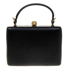 Alexander McQueen Black Leather Skull Top Handle Bag