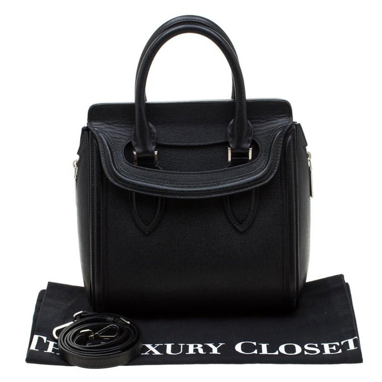 Alexander McQueen Black Leather Small Heroine Satchel For Sale 8