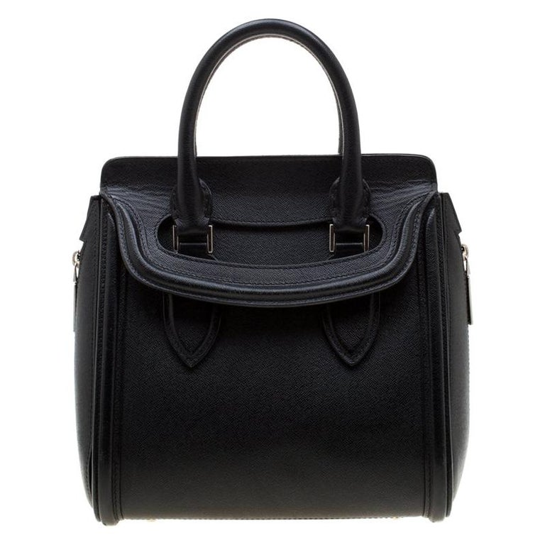 Alexander McQueen Black Leather Small Heroine Satchel For Sale