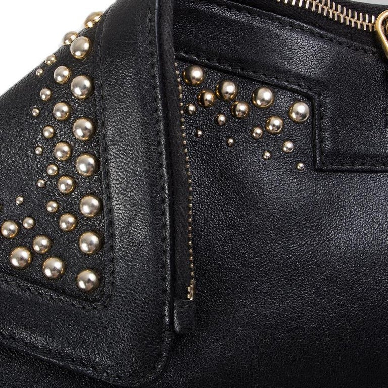 ALEXANDER MCQUEEN black leather STUDDED DE MANTA Clutch Bag For Sale 4