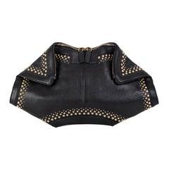 ALEXANDER MCQUEEN black leather STUDDED DE MANTA Clutch Bag