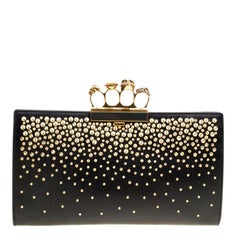 Alexander McQueen Black Leather Studded Skull Knuckle Clutch
