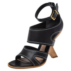 Alexander McQueen Black Leather Topstitched Ankle Strap Sandals Size 40