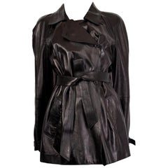 Alexander McQueen black leather Trench Coat Jacket 44