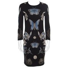 Alexander McQueen Black Lurex Jacquard Knit Butterfly Pattern Obsession Dress S