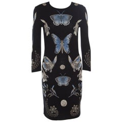 Alexander McQueen Black Lurex Jacquard Knit Butterfly Pattern Obsession Dress S