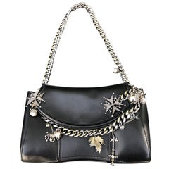 Alexander McQueen Black Medallion Leather Chain-Strap Shoulder Bag with Charms