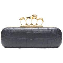 ALEXANDER MCQUEEN black mock croc gold skull knuckleduster box clutch bag