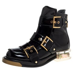 Alexander McQueen Black Patent Leather Flower Detail Three Buckle Boots Size 36