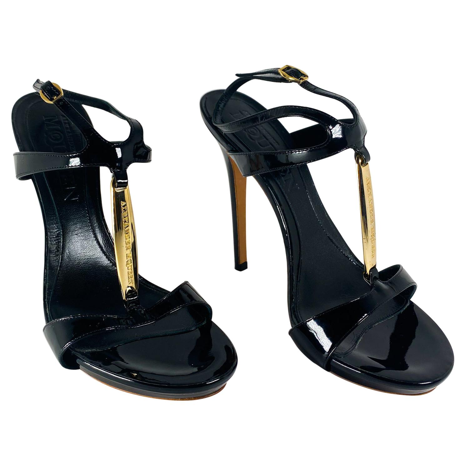 Alexander McQueen Black Patent Sandals