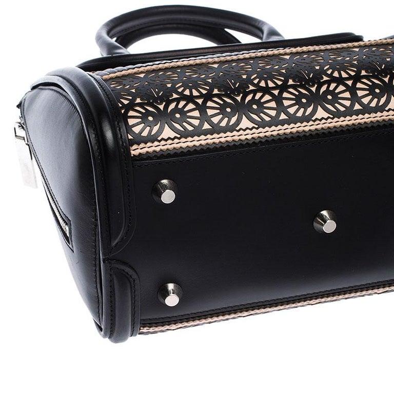 Alexander McQueen Black/Peach Laser Cut Leather East West Heroine Tote For Sale 3