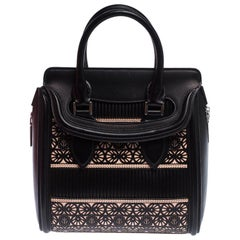 Alexander McQueen Black/Peach Laser Cut Leather East West Heroine Tote