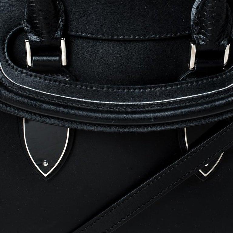 Alexander McQueen Black/Pink Leather Small Heroine Satchel For Sale 7