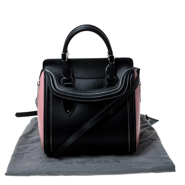 Alexander McQueen Black/Pink Leather Small Heroine Satchel For Sale 8