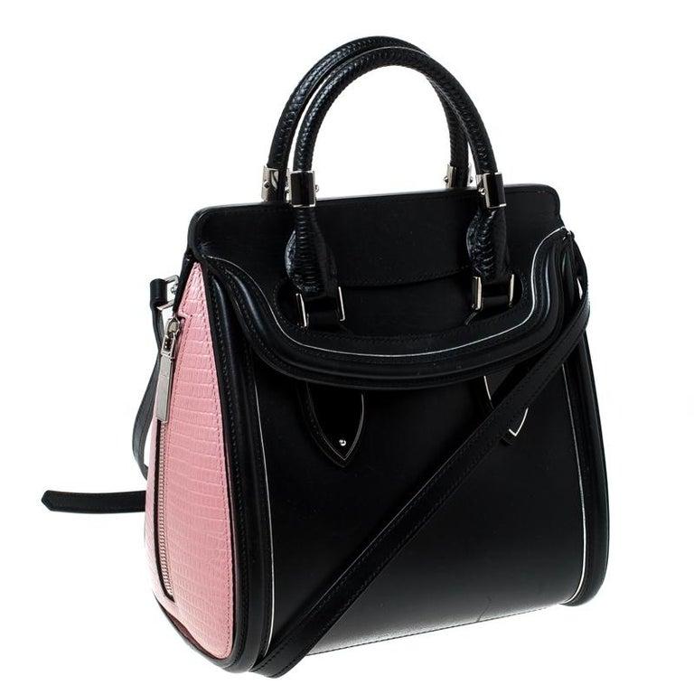 Women's Alexander McQueen Black/Pink Leather Small Heroine Satchel For Sale